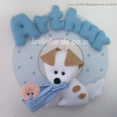 Enfeite Porta Maternidade Cachorro com Bebê