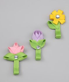 Look what I found on #zulily! Pink, Purple & Yellow Spring Flower Clip Set by Hair Flair #zulilyfinds