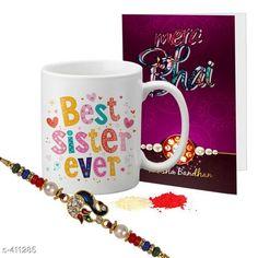 Rakhi Fancy Mug & Rakhi Combo Material: Mug: Ceramic                Rakhi: Beads/ Thread Size: Mug- 325 ml Description: It Has 1 Piece Of Mug 1 Piece Of Beautiful Greeting Card & 1 Piece Of Rakhi Country of Origin: India Sizes Available: Un Stitched, Free Size, Semi Stitched   Catalog Rating: ★4.2 (438)  Catalog Name: Rakhi Fest Special Greeting Cards & Mugs Combo Vol 2 CatalogID_44463 C77-SC1266 Code: 452-411285-525