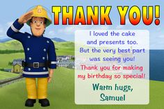 10 Personalised Fireman Sam Thank You Cards - Personalised Invite