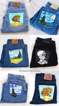 Vincent Van Gogh painted jeans by Kessler Ramirez - . Vincent Van Gogh painted jeans by Kessler Ramirez Vincent Van Gogh painted jeans by Kessler Ramirez - . Vincent Van Gogh painted jeans by Kessler Ramirez Painted Denim Jacket, Painted Jeans, Painted Clothes, Hand Painted, Diy Fashion, Ideias Fashion, Fashion Outfits, Diy Clothes Kimono, Denim Art