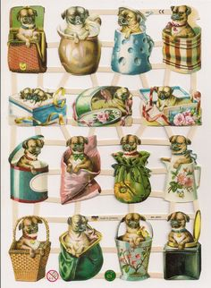 German Victorian Style Embossed Scrap Die Cut Dogs in Containers EF7342