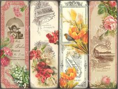 Victorian Floral Bookmarks - Printable - Vintage Roses, Daisies, Tulips, Lily of the Valley - 2 x 6 - Vintage Flowers - Digital Download. $4,00, via Etsy.