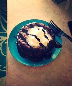 Delicious chocolate protein microwave cake. Low carb and sugar free!