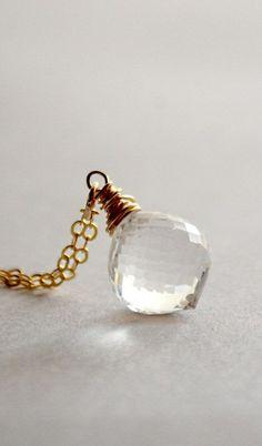 Rock crystal quartz necklace gold white stone