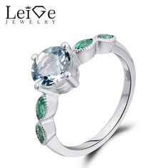 Find More Rings Information about Leige Jewelry Engagement Rings for Women March Birthstone Natural Aquamarine Ring 925 Sterling Silver Round Cut Prong Setting ,High Quality ring 925,China ring for Suppliers, Cheap rings for women from PrettyJewelry on Aliexpress.com
