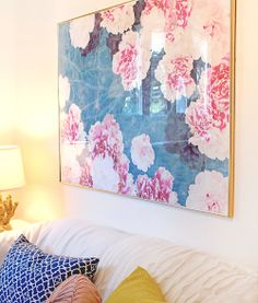 "Thin, Gold frame    ""Night Peonies on Blue"" art print by COZAMIA   #art, #decor, #cozamia"