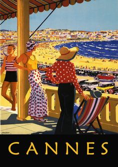 Cannes France Ocean Large French Vintage Travel Poster Reproduction Free s H | eBay