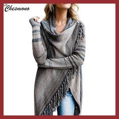 2017 Ladies Irregular Knitted Top tassel Sweater Cardigan Sueter Mujer  Fashion Women Vintage Ethnic pullover Spring c995384f8ef