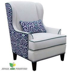 Alec Navy Blue Trellis Wing Chair Living Room