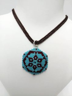 Delica Seed  Beads Necklace Turquoise Color Necklace Brown
