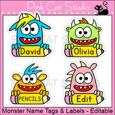 Monster Theme Classroom - Name Tags and Labels - Editable