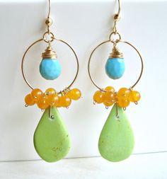 Lime Turquoise Dangle Earrings, Blue Green Cluster Earrings, Turquoise Hoop Cluster, Gold Filled Boho Hoops