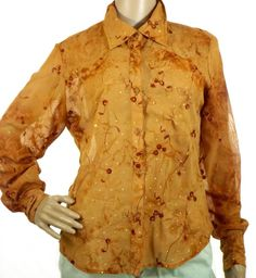 Women's Roper Sheer Button Up Blouse Shirt Burnt Orange/Brown Western Cowgirls S #Roper #Blouse #Casual