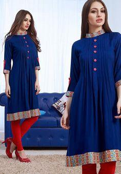 Ravishing Blue Color Kurti @ http://www.indiandesignershop.com/product/ravishing-blue-color-kurti/