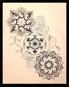 Dotwork black and grey mandala geometric tattoo