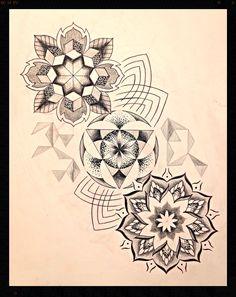 Dotwork black and grey mandala geometric tattoo
