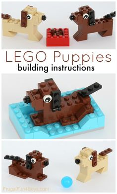 How to Build Puppies with LEGO Bricks - Frugal Fun for Boys and Girls - Fun Activities For Kids, Crafts For Kids, Stem Activities, Lego Hacks, Lego Dog, Construction Lego, Lego Challenge, Lego Club, Lego Craft