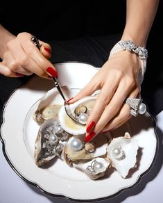 Pearls photographed for Harper's Bazaar. Note the #Cartier bracelet.