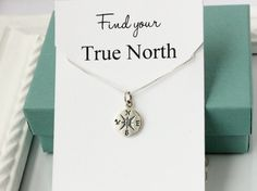 Compass necklace sterling silver Find your true by SilverStamped