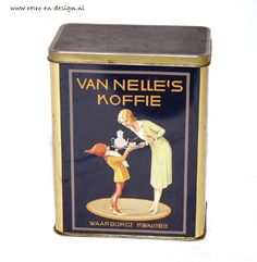 Tin Van Nelle's CoffeeTin Van Nelle's Coffee  Rectangular blue tin for coffee by Van Nelle bearing a picture of the gnome Piggelmee offering a lady a cup of coffee, entitled: Van Nelle's coffee assures quality. see: http://www.retro-en-design.co.uk/a-40707128/tins/tin-van-nelle-s-coffee/