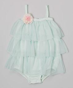 Light Green Tulle Ruffle Pima Bodysuit - Infant
