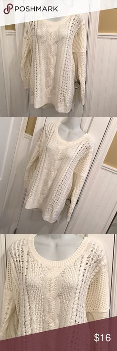 """Express cream sweater Open knit oversized sweater. About 31"""" long. Great condition 👍 Express Sweaters Crew & Scoop Necks"""