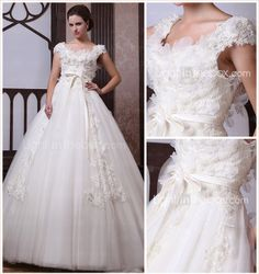 Ball Gown Scoop Court Train Lace Satin Wedding Dress - USD $ 699.99