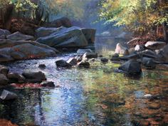 "Michael Godfrey - ""Autumn at Paint Branch Creek""  18 x 24 Oil"