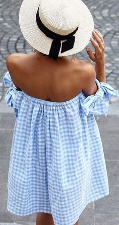 Gingham off the shoulder dress and straw hat!