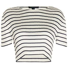 Alexander Wang Pleated Stripe Crop Top (€525) ❤ liked on Polyvore featuring tops, crop tops, shirts, t-shirts, striped top, white crop top, 3/4 sleeve shirts, polyester shirt and 3/4 sleeve crop top