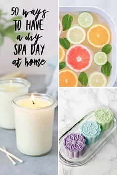 50 Ways to Have a DIY Spa Day at Home! Everyone loves the relaxed feeling of being pampered at a spa. Splashing out on a spa day can be expensive though, but you can still have all the fun and benefit Diy Spa Day, Spa Day At Home, Diy Nails Soak, Deep Cleansing Face Mask, Spa Tag, Spa Items, Spa Night, Nails Polish, Diy Lotion