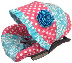 Damask Turq with Pink Dot Infant Baby Car by BabyCarSeatCovers, $95.00