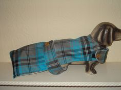 "NEW HANDMADE DOG COAT 16"" TORQUOISE/GREY TARTAN,FLEECE LINED, DACHSHUND SM/DOGNEW HANDMADE DOG COAT 16"" TORQUOISE/GREY TARTAN,FLEECE LINED, DACHSHUND SM/DOG"