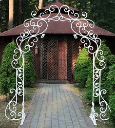 Forged curly steel arch - Life with Alyda Decoration Entree, Arch Decoration, Iron Furniture, Garden Furniture, Garden Gates, Garden Art, Fleur Design, Garden Arches, Window Shutters