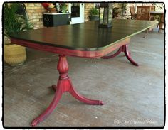 Antique (in 14 more yrs) Dining table painted with OTP True Black and Super Red.then distressed and finished with a black wax.Top done with GF Java Gel Stain.finished with the black wax. Dining Table Redo, Kitchen Table Makeover, Dining Set, Refurbished Furniture, Furniture Makeover, Painted Furniture, Diy Furniture, Painted Kitchen Tables, Farmhouse Kitchen Tables