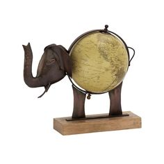 Stunning Metal Wood Elephant Globe Bronze (Globe), Black (Acacia)