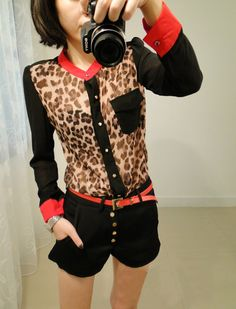 Fashion Cool Women Girl Leopard Print see-through sexy Chiffon Tops Shirt Blouse,Sexy leopard print and stand collar design, Fashion cool and sweet lady style, perfect for any formal occasions .Soft and comfort chiffon material(a little see-through), with shoulder pad, breathable and good touch-f...
