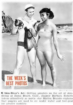 Marlon Brando &  Barbara Roberts on Beach – Jet Magazine, August 18, 1955