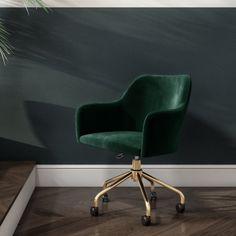 Velvet Office Chair, Swivel Office Chair, Home Office Chairs, Office Nook, Desk Chair, Gold Office Decor, Green Office, Buy Office, Furniture 123