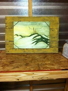 Old fence boards made into a frame. Painting held on with leather straps. Old Fence Boards, Old Fences, Reclaimed Wood Projects, Arts And Crafts, Frame, Leather, Painting, Picture Frame, Painting Art