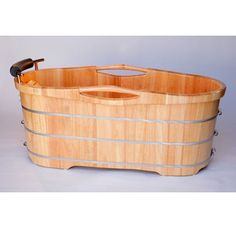 """ALFI Brand AB1163 61"""" Oak Soaking Bathtub for Freestanding Installations with Reversible Drain and Padded Headrest Image"""