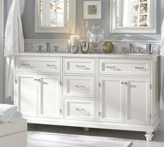 colors Modular Classic Double Sink Console with Doors & Drawers, White with White Marbl - traditional - bathroom vanities and sink consoles - by Pottery Barn Bathroom Renos, Small Bathroom, Bathroom Vanities, Master Bathroom, Bathroom Ideas, Vanity Mirrors, Vanity Sink, Paint Vanity, Kids Mirrors