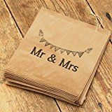 "Luck And Luck 90 sacs en papier craft marron avec inscription ""Mr and Mrs"" pour dragées de mariage et bonbons"