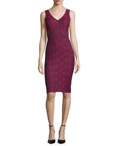 Pila Sleeveless Printed Sheath Dress, Magnolia/Oxford - ZAC Zac Posen