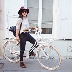 What Bloggers Wear To Ride Their Bikes #refinery29  http://www.refinery29.com/bike-riding-outfits#slide1  Valentine of Hello It's Valentine boils it down to the essentials for her #OOTD: a button-down, skinny jeans, and boyish loafers.