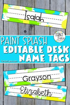 Student desk assignments are easy with editable desk name tags in a fun paint splash theme. Includes 6 editable desk name plates. #nametags #nameplates #studentdesks #terbetlane