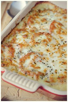 Mozzarella and Potato Pie....OMG Totally decadent and perfect for a crowd. via Key Ingredient for Kayotic Kitchen