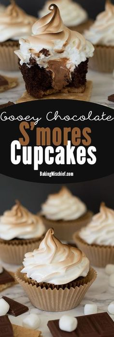 These are the perfect s'mores cupcakes: a graham cracker base, soft and decadent chocolate cake, gooey Hershey's chocolate buttercream center, and toasted marshmallow frosting. Recipe includes nutritional information. by lea Mini Desserts, Just Desserts, Delicious Desserts, Dessert Recipes, Yummy Food, Baking Cupcakes, Yummy Cupcakes, Cupcake Cakes, Gourmet Cupcakes