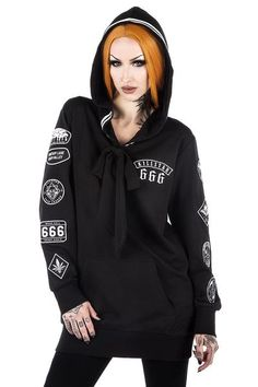 Killstar Gothic Goth Punk Hoodie Kapuzenpullover Scout Troop 666 Patches
